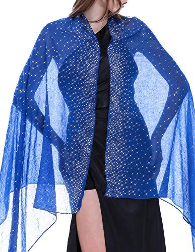 Rhinestone Scarf Shawls and Wraps for Evening Dresses Shiny Scarf Royal Blue