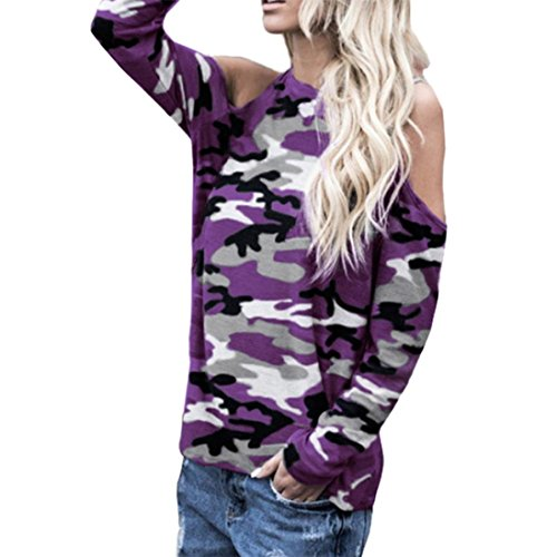 Sunhusing Clearance!Women Off-Shoulder Camouflage Long-Sleeve Shirt Casual Sweatshirt Pullover ()