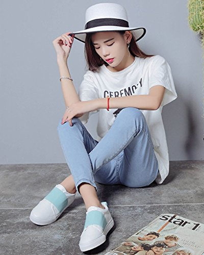 Maybest Donna Casual Mocassino Outdoor Scarpe Basse Slip-on Scarpe Sneakers Patchwork Color Caramella Blu
