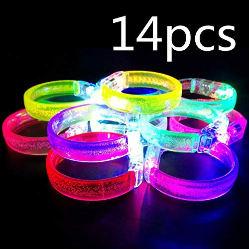 (HongFu 14Pcs and 14 Spare Batteries Multicolor Glow in The Dark LED Stick Bracelet Light Up Party Favors Glow Toys)