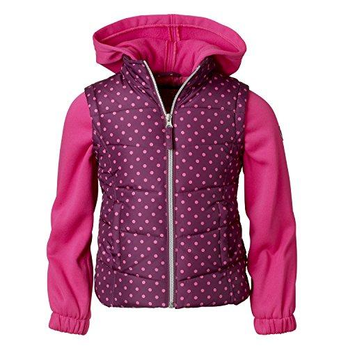 Pink Platinum Quilted Vest For Girls – Dot Print, Solid Fleece Hood & Sleeve