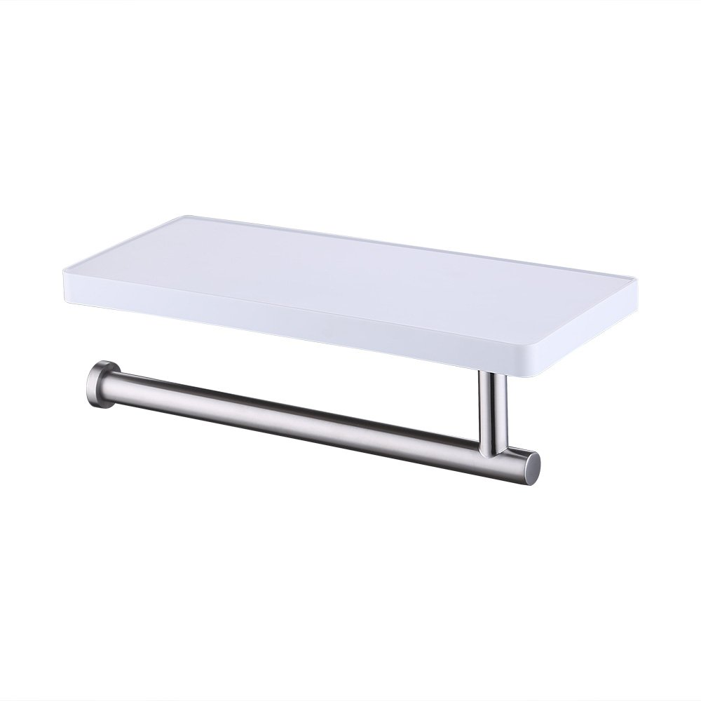 KES Bathroom Towel Holder Hanger with Storage Shelf Organizer Brushed SUS 304 Stainless Steel and White Acrylic, BSC602S1-2