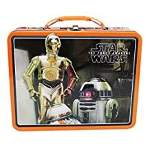 Star Wars: The Force Awakens C3PO, R2D2, and BB-8 Orange Trim Tin Lunch Box