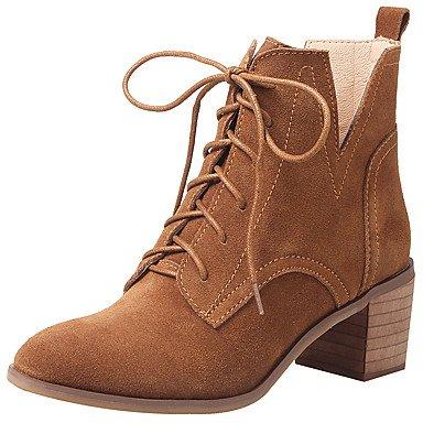 RTRY Zapatos De Mujer Auténtica Piel De Vaca Moda Otoño Invierno Botas Botas Bota Chunky Talón