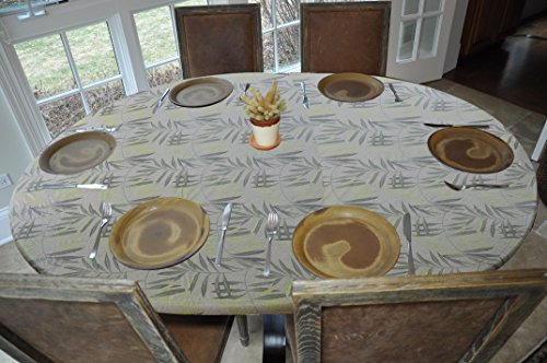 "Elastic Edged Flannel Backed Vinyl Fitted Table Cover - FERN Pattern - Oblong/Oval - Fits tables up to 48"" x 68"""