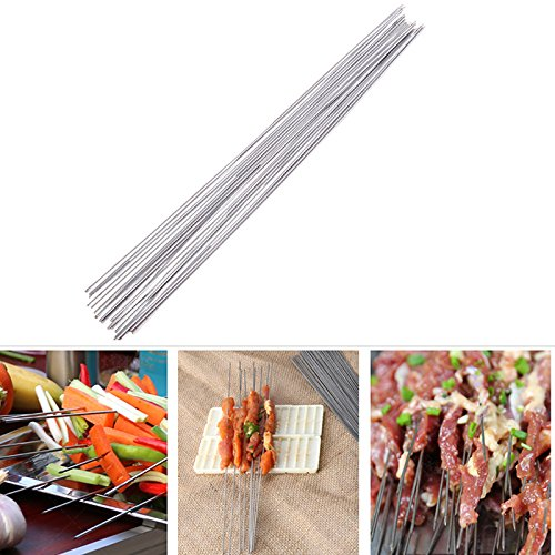 KJ Moderngoods 20pcs Stainless Steel BBQ Stick Skewers Barbecue Meat Skewer Sticker Needle. price tips cheap