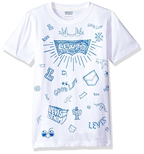 Levi's Boys' Toddler Graphic T-Shirt, White Doodle, 2T ()