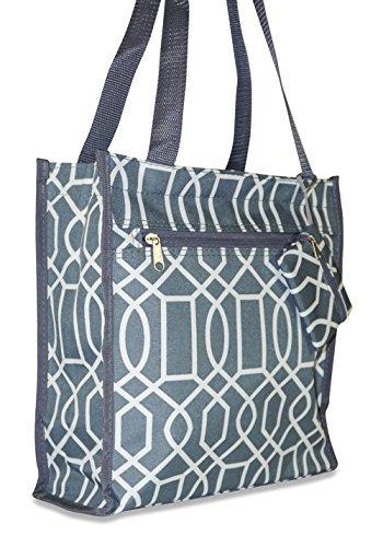 Ever Moda Chevron Tote Bag (Teal Blue)