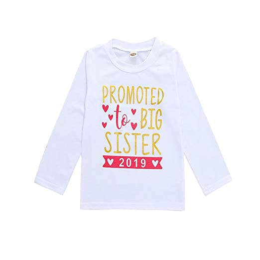 c5ba132c KIDSA 3-8T Toddler Little Girls Clothes Promoted to Big Sister 2019 Shirt  Summer Long