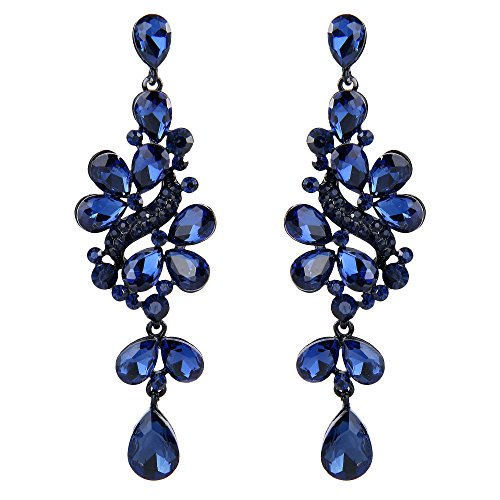 BriLove Wedding Bridal Dangle Earrings for Women Victorian Style Crystal Cluster Teardrop Leaves Dangle Earrings Navy Blue Sapphire Color Black-Silver-Tone