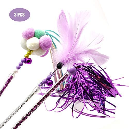 Cat Teaser Wands 3 PCS Cat Wands Interactive Cat Toys Cat Stick with Balls, Feather and Tassel for Cat Kitten Having Fun Exerciser Playing 2