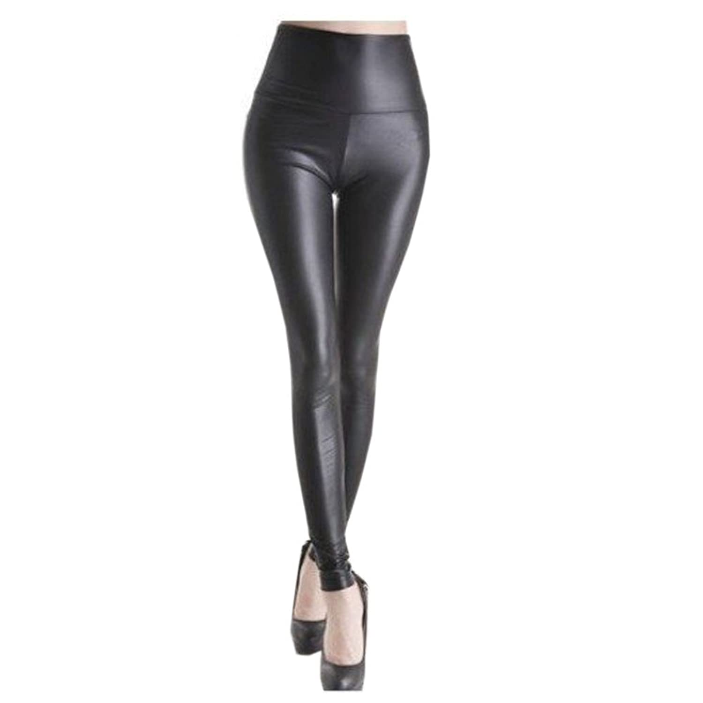 9Your Fashion Milk Women Shiny Metallic High Waist Black Pants fitness leggings