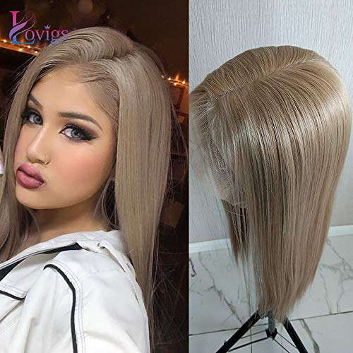 Lovigs Hair 13x6 Lace Front Wigs Heat Resistant Kanekalon Fiber Synthetic Hair Real Natural Straight Wigs for Women - 100% Stylish Blond Wigs (Color 103# Blonde 22 Inch)
