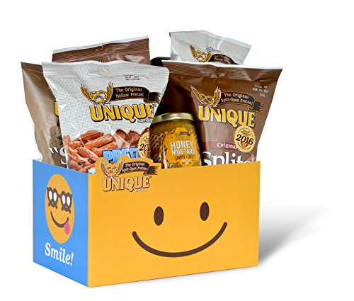 Unique Pretzels Smiley Gift Basket Box