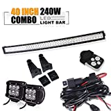 DOT 40 42In Curved Led Light Bar On Grille Front Bumper Roof Rack + 4In Pods Cube Fog Lights For Truck Dodge Ram 1500 Polaris Jeep Toyota Tacoma Can Am Yamaha SXS Wildcat Limited 4x4 Ford Forester