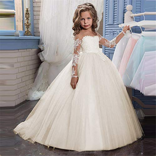 Costume Cosplay Princess Lace Applique Embroidered Kids Princess Wedding Bridesmaid Floor Length Layered Puffy Tulle Dresses Flower Girls First Communion Dress Fancy Party ()