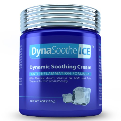 "DynaSoothe ICE(tm)Extra-Strength Pain Relieving Cream with MSM, Arnica, Menthol and Vitamin B6 combined with ""Creamsicle Frost""(tm) Aromatherapy. Packaged in a safe, 4 ounce BPA-free GLASS JAR. 100% Unconditional Satisfaction Guarantee. No Time Limit."