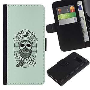 All Phone Most Case / Oferta Especial Cáscara Funda de cuero Monedero Cubierta de proteccion Caso / Wallet Case for Sony Xperia Z3 Compact // Timber Hipster Skull