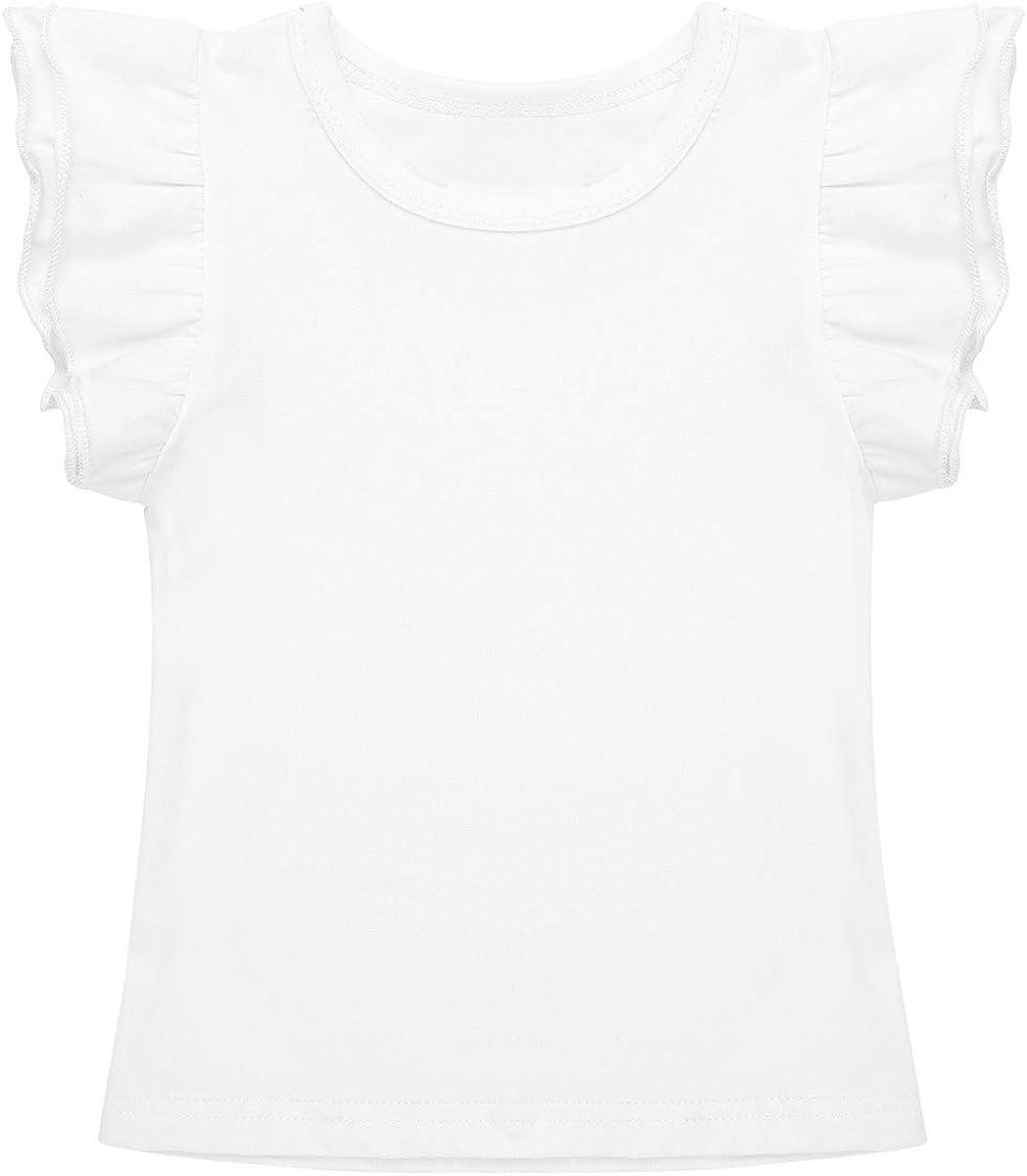 dPois Baby M/ädchen T-Shirt Top aus Baumwolle mit Fl/ügel/ärmel Rundhals Oberteile Kleinkind atmungsaktiv Sommer