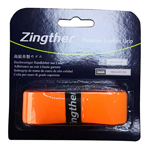 2-Pack of Zingther Tacky Premium Rubbery PU Leather Replacement Grips for Tennis Racket, Badminton Raquet, Racquetball Racquet, Pickleball Paddle Handle, Bat Grip and Squash Racket (Orange, 2 Grips)