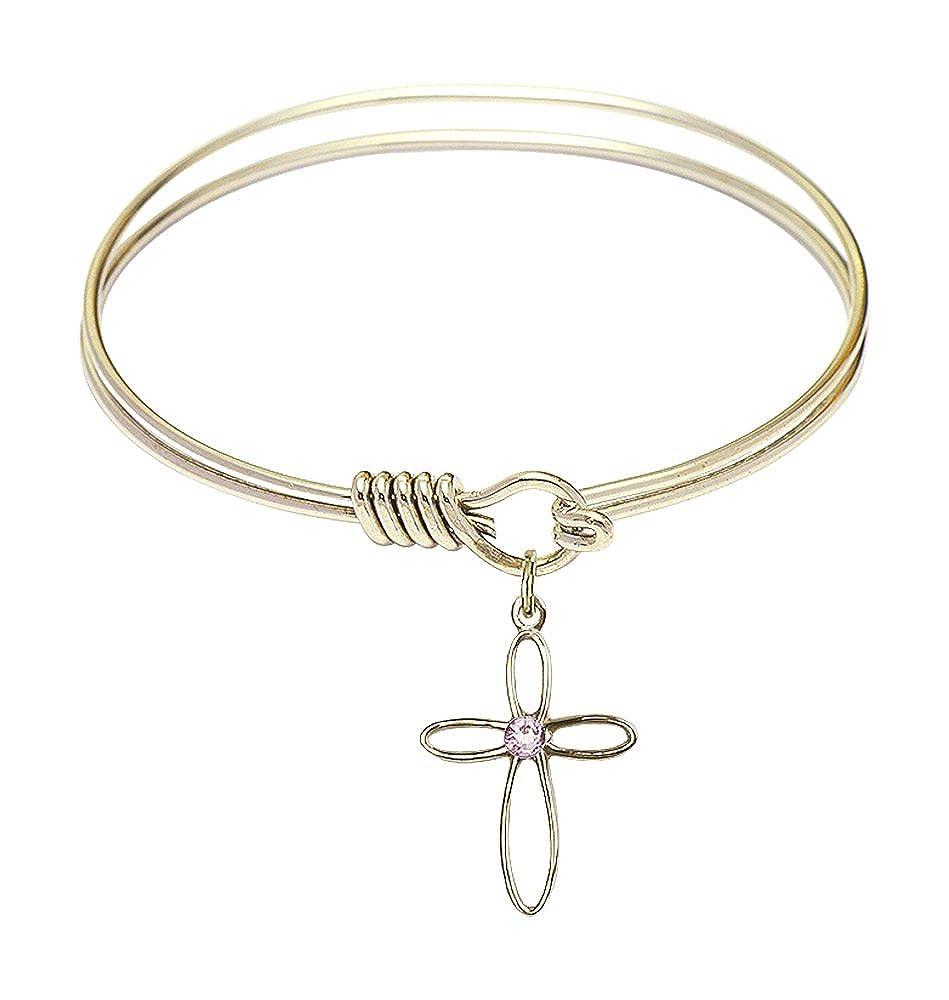 Loop Cross Charm On A 6 1//4 Inch Round Eye Hook Bangle Bracelet