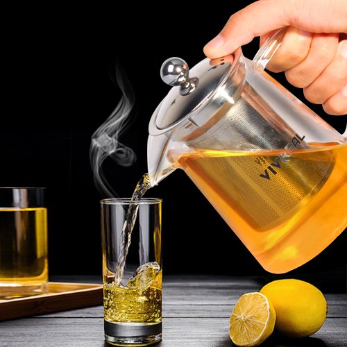 Glass Teapot - Tea Maker Tea Infuser, 304 Stainless Steel Infuser & Germany Clear Glass. Borosilicate Glass Tea Pot with Infuser for Blooming and Leaf Tea