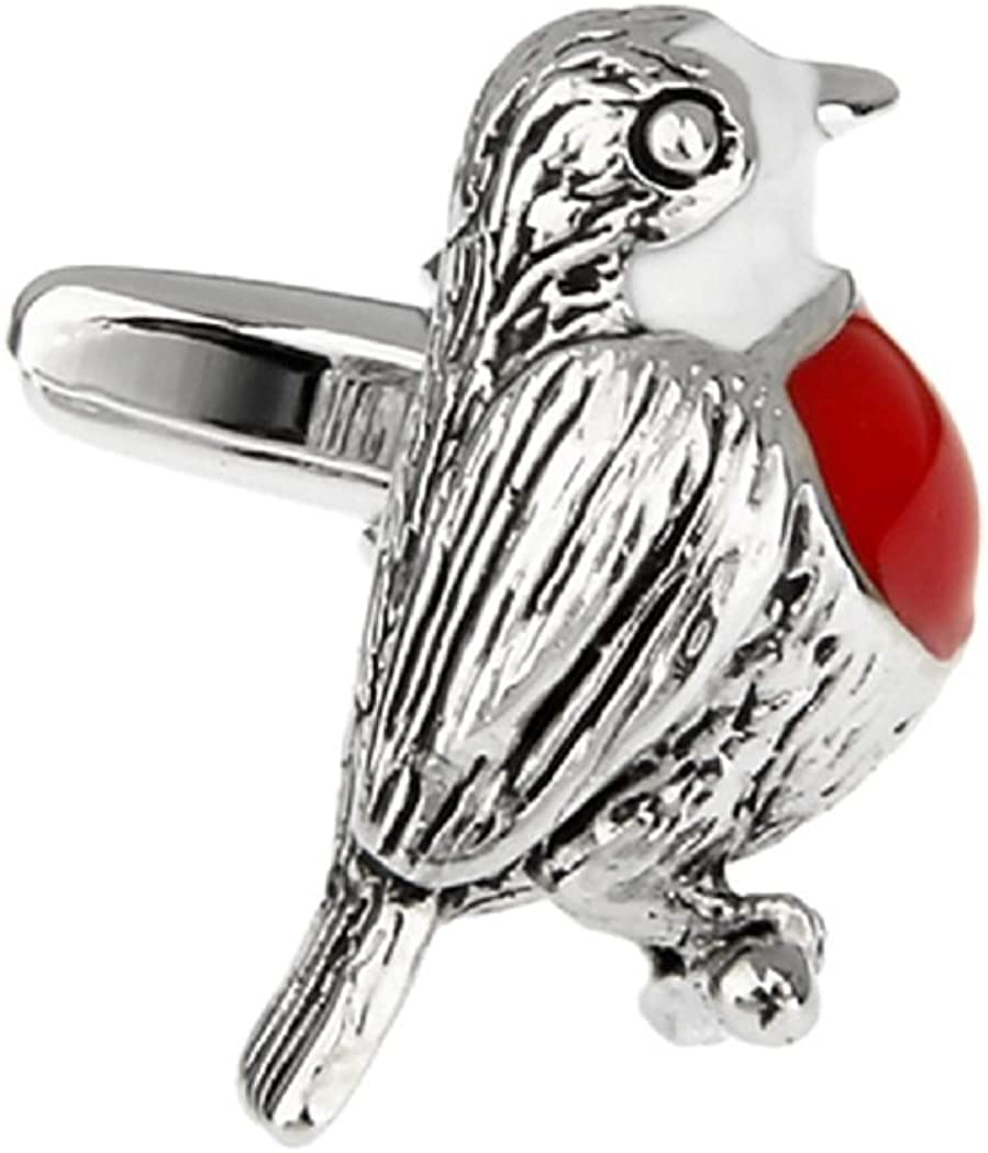 MRCUFF Bird Red Breast Pair Cufflinks in a Presentation Gift Box & Polishing Cloth