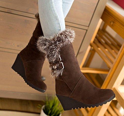 lined Fur Womens Boots Faux Aisun Comfy Snow Heel Wedge Round Warm Buckle Strap Mid Coffee Toe Calf Mid zq8wHfxq