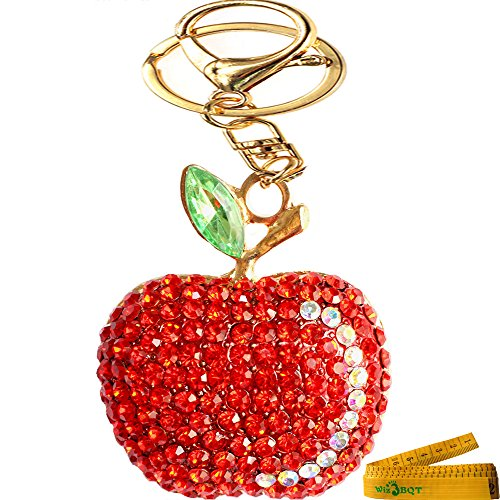 apple keychain. bling crystal rhinestone graven 3d cubic apple shaped metal keychain car phone purse bag decoration holiday gift (red) a