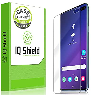 "Samsung Galaxy S10 Plus Screen Protector (S10+ 6.4"")[Case Friendly](2-Packs)(Compatible w/Fingerprint ID), IQ Shield LiQuidSkin Full Coverage Screen Protector for Samsung Galaxy S10 Plus HD Clear Film"