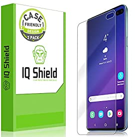 Samsung Galaxy S10 Plus Screen Protector (S10+ 6.4″)[Case Friendly](2-Packs)(Compatible w/Fingerprint ID), IQ Shield LiQuidSkin Full Coverage Screen Protector for Samsung Galaxy S10 Plus HD Clear Film