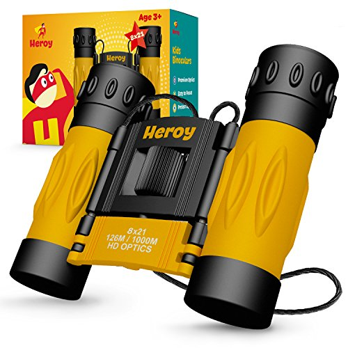 Binoculars for Kids - Toy Binoculars for Boys and Girls with Carrying Case and Neck Strap - 8X Magnification - Binoculars for Bird Watching Stargazing Hunting Hiking - Folding Children (Yellow) ()