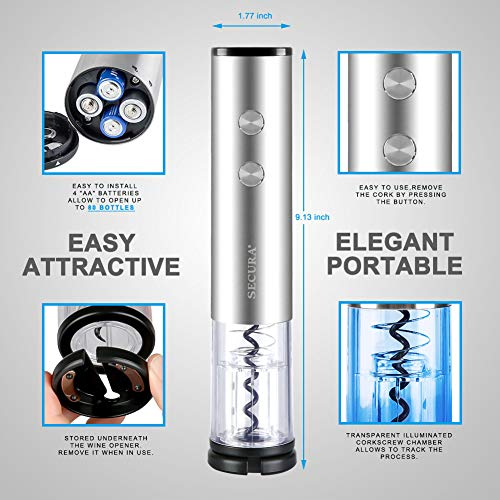 Secura Electric Bottle 4A Battery Powered Wine Opener with Foil Cutter, Stainless Steel, Cordless (Silver) by Secura (Image #2)