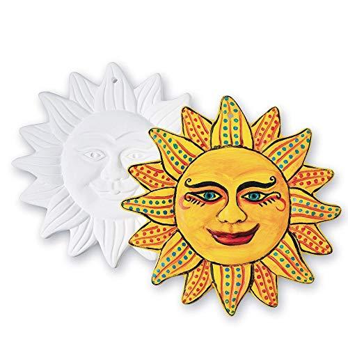 Color-Me Ceramic Bisque Aztec Sun Plaques