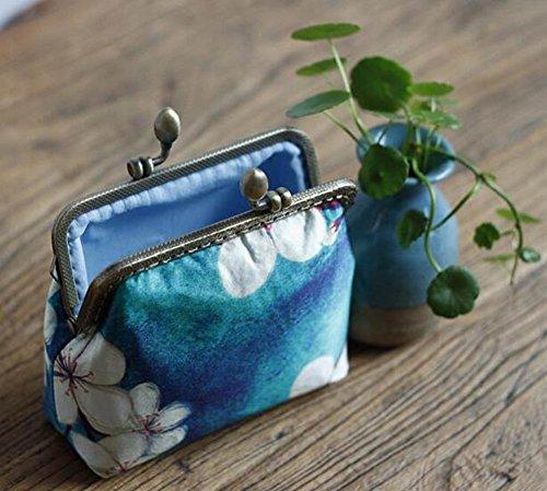 Femmes Bleue Portefeuille Petite Fleur monnaie Boucle Porte Pochette grPxgvUq