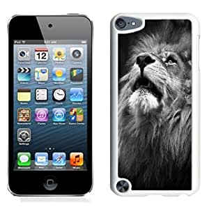 Lovely and Durable Cell Phone Case Design with Majestic Lion Portrait iPod Touch 5 Wallpaper in White