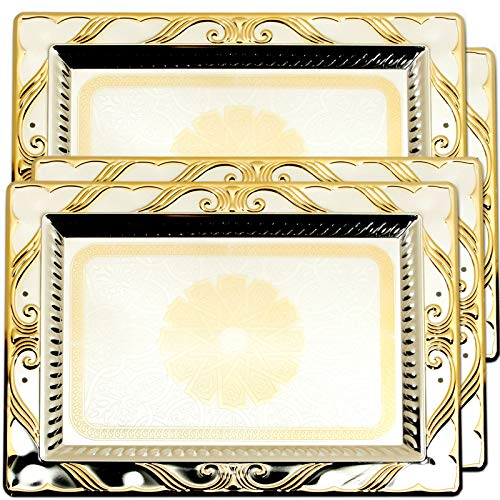 Maro Megastore (Pack of 4) 18.3-Inch x 13.8-Inch Iron Gold Serving Rectangular Tray Floral Plated Decorative Holiday Wedding Birthday Buffet Party Dessert Food Decor Party Wine Platter 2461 M Tla-001