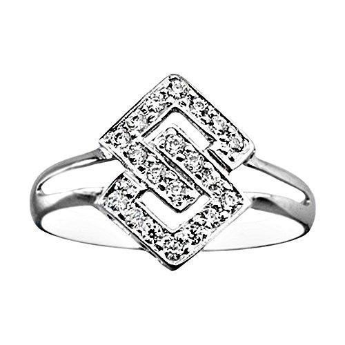 Bague Or blanc 18 carats de diamants de zircone cubique traversé [AA6941]
