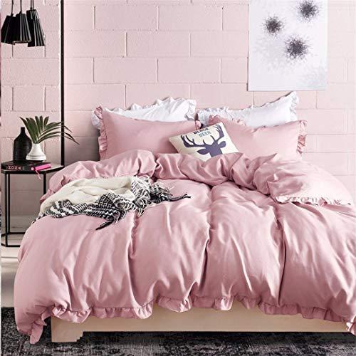 Romantic Pink Bedding Set Elegant Ruffles Edge Duvet Cover Set 2Pcs/3Pcs Bed Linen Quilt Cover Twin Queen King Wedding Gift Pink US Twin 2pcs