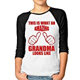 ^GinaR^ Women Middle Sleeve This Is What An Amazing Grandma Looks Like T Shirt Tops XXL Black