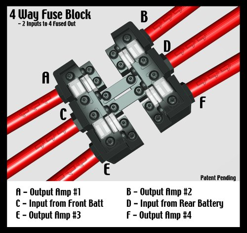 KnuKonceptz KNF-60 3 / 4 Way 0 Gauge Fuse Distirbution Block by KnuKonceptz (Image #4)'