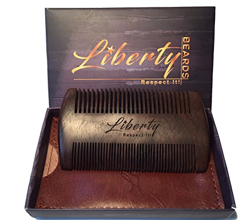 Beard Comb - Handmade Sandalwood - Perfect for Balms and Oils - Dual Action-Fine/Course Tooth - Premium Carrying Case and Gift Box Included - Anti-Static and No Snag