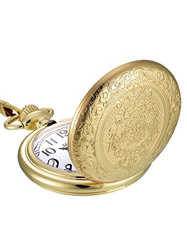Mudder Vintage Stainless Steel Quartz Pocket Watch Chain (Gold) (Pocket White Watch Gold White)