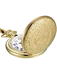 Mudder Vintage Stainless Steel Quartz Pocket Watch Chain (Gold)