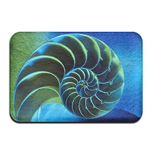 Blue and Green Spiral Chambered Nautilus Non-Slip Durable Ground Mat