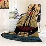 YOYI-HOME Duplex Printed Blanket,Religion of Ancient EgyptRa in The Solar bark Anti-Static,2 Ply Thick,Hypoallergenic/69 W by 47'' H