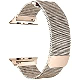 BRG for Apple Watch Band 38mm, Stainless Steel Mesh Milanese Loop with Adjustable Magnetic Closure Replacement iWatch Band for Apple Watch Series 3 2 1 (38mm Gold)