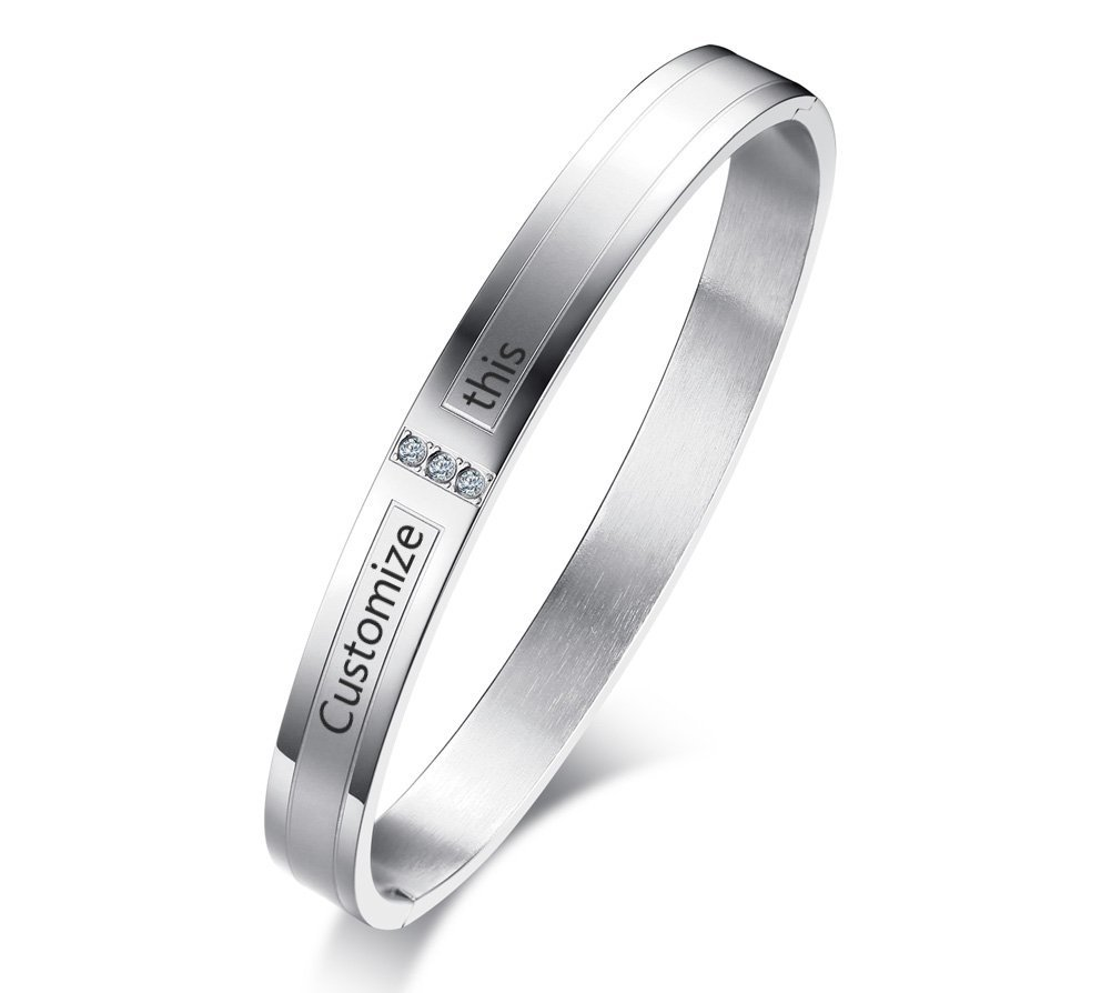 Name Custom Engrave Stainless Steel His and Hers Couple Hinged Bangle Bracelet for Him and Her, Personalized Couples Gifts Mealguet MG--CB--029MR--KZ