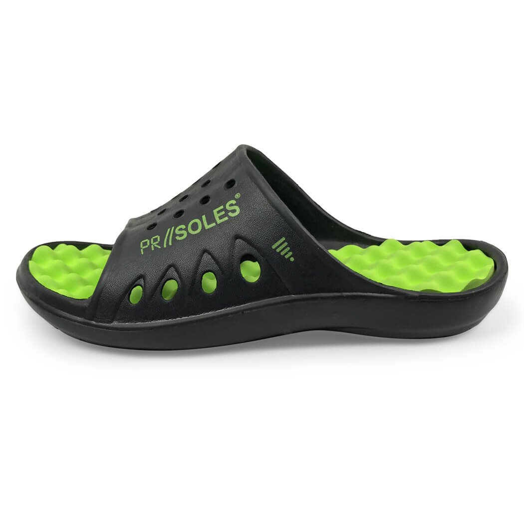 PR Soles Recovery Sandals | Sports Glides for Men and Women | Great for Athletes | Black/Neon Green