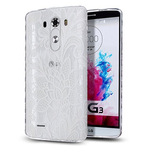 LG G3 Case,LG G3 TPU Case,ikasus [Scratch-Proof] Ultra Thin Crystal Clear Rubber Gel Transparent TPU Soft Silicone Bumper Case with Shockproof Protective Case for LG G3,White Lace Flower